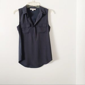 Ann Taylor Loft Navy Blue Sleeveless Blouse Top